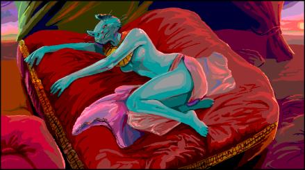 Den egyptiske kattegudinnen Bast, slik hun fremstår i tegneserien SANDMAN.